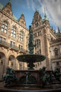 Hygieia fountain situated in hamburg rathaus courtyard Stock Image