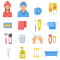 Hygiene Accessories Flat Icons Set Royalty Free Stock Photo