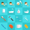 Hygiene Icons Flat Royalty Free Stock Photo