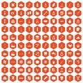 100 hygiene icons hexagon orange