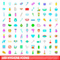 100 hygiene icons set, cartoon style