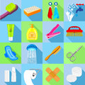 Hygiene icons set, flat style