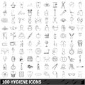 100 hygiene icons set, outline style