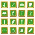 Hygiene tools icons set green