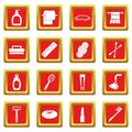Hygiene tools icons set red