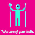 Hygienist with dental tools on the pink background