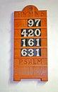 Hymn Board. Stock Photo