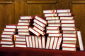Hymnals and prayer books - stack Stock Image