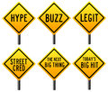 Hype and hit road signs indicating hypes hits buzz Stock Photo