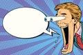 Hyper expressive reaction cartoon man face, Comic bubble