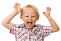 Hyperactive young boy a angry screaming isolated on white Royalty Free Stock Photo
