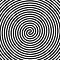 Hypnotic circles abstract white black vector spiral swirl optical illusion pattern background Royalty Free Stock Photo