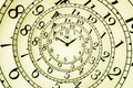 Hypnotic clock detail of a used mechanical with quadrant very flexible concept Royalty Free Stock Photo