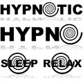 Hypnotic icons icon set showing a hypnosis spiral in combination with certain words normally associated with this practice Stock Images