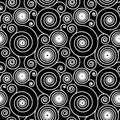 Hypnotic spiral pattern seamless black and white background Royalty Free Stock Image