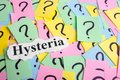 Hysteria Syndrome text on colorful sticky notes Against the background of question marks Royalty Free Stock Photo