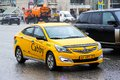Hyundai solaris moscow russia march taxi car at the city street Royalty Free Stock Photo