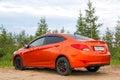 Hyundai solaris novyy urengoy russia june motor car at the countryside Royalty Free Stock Image