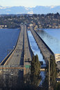 I-90 Bridge Bellevue Snowy Cascade Mountains Royalty Free Stock Photos