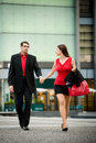 I do not want to go there hurry young business women draging her boyfriend on street Stock Images