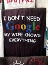 I Don't Need Google,  my Wife Knows Everything Royalty Free Stock Photo
