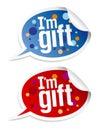 I etiquetas engomadas del regalo del `m fijadas. Imagen de archivo libre de regalías