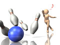 I am glad to make a strike in bowling. Royalty Free Stock Images
