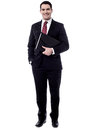 I am going to the meeting full length of businessman holding file folder Royalty Free Stock Photos