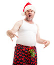 I got your christmas gift right here baby humorous photo of a guy in boxer shorts with mistletoe over his crotch asking for oral Royalty Free Stock Photo