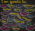 I am grateful for love and happiness in words and decoration Royalty Free Stock Photography