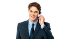 I am happy to help you smiling customer support guy over white Stock Image