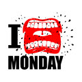 I hate Monday. shout symbol of hatred and antipathy. Open mouth.