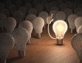 I have an idea incandescent bulb with concept of leadership Stock Photo