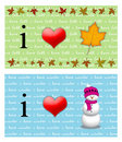 I Heart Fall, I Heart Christmas Royalty Free Stock Image