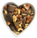 I heart fruits, nuts and chocolate Stock Photos