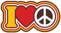 I heart peace retro style vector design of love in red and yellow with black and white Royalty Free Stock Image