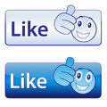 I like button with emoticon face Stock Photo