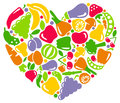 I like vegetables and fruit icons of in the form of heart Stock Photos