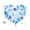 I like winter! Heart shape of snowflakes Royalty Free Stock Images