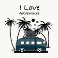 I Love Adventure typography with van and coconut palm tree. Royalty Free Stock Photo