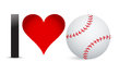 I love baseball heart with baseball ball inside illustration design Royalty Free Stock Photo