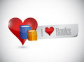 I love books sign message illustration design over a white background Stock Image