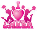 I love cheer illustration of a design for cheerleaders express your for cheerleading includes two jumping cheerleaders and a heart Stock Photos