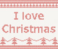 I love christmas knitted pattern in scandinavian style with spruce Royalty Free Stock Image