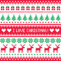 I love christmas pattern scandynavian sweater style winter red and green background nordic kntting Stock Image