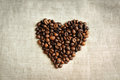I love coffee heart made of beans Royalty Free Stock Photo