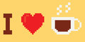 I love coffee pixel art style Royalty Free Stock Image