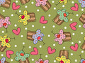 I love cupcakes - seamless pattern Stock Image