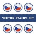 I Love Czech Republic vector stamps set. Royalty Free Stock Photo