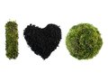 I love earth acronym made from moss grown sphere and letter and soil shaped into heart over white background Stock Photos